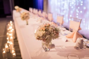 Decor - Bridesmaid's Bouquets at Head Table