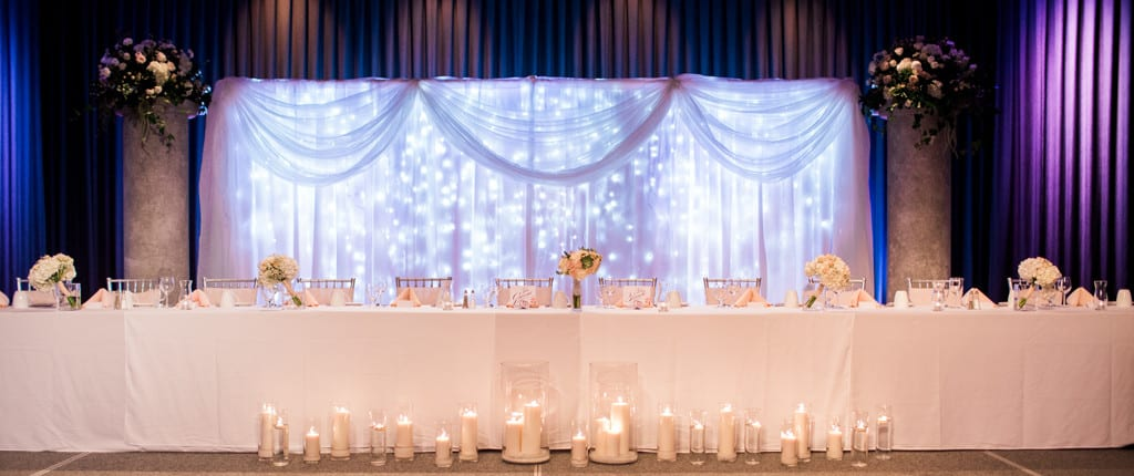 Ottawa wedding venues century weddings and events flowers and decor twinkle light backdrop with pillars and lighting package junglespirit Gallery